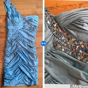 Sea foam green jeweled and ruched dress size Med.